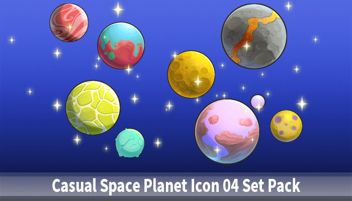 Casual Space Planet Icon 04 Set Pack