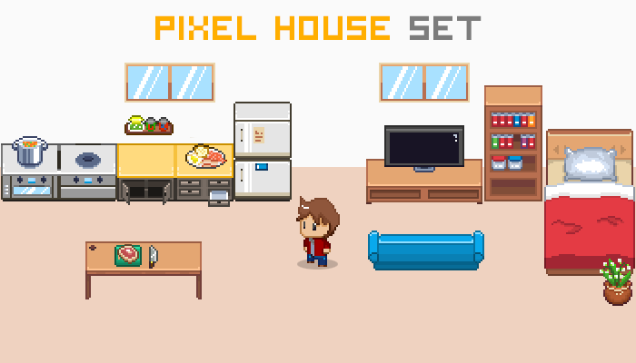 Pixel House Set