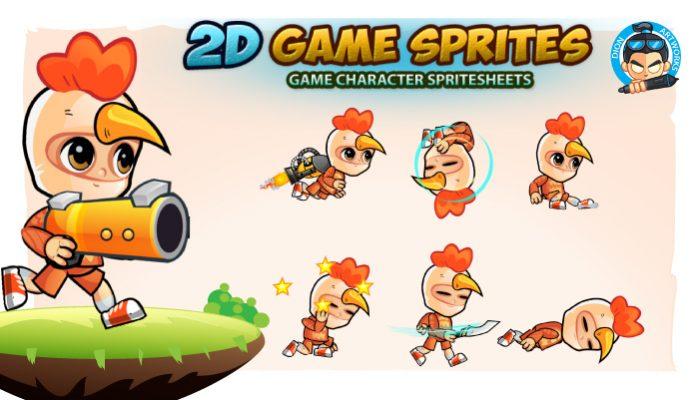 Chicken Boy 2D Game Sprites