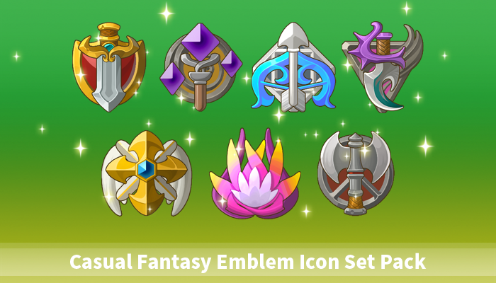 Casual Fantasy Emblem Icon Set Pack
