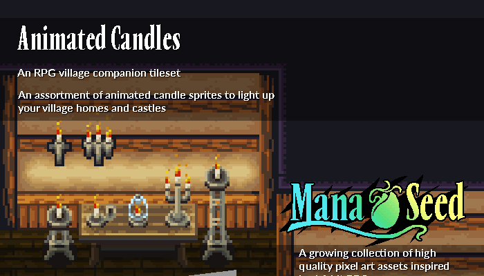 Animated Candles – Pixel Art Asset