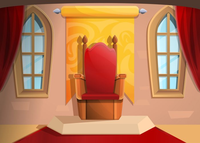 Royal throne medieval hall in cartoon style, vector illustration
