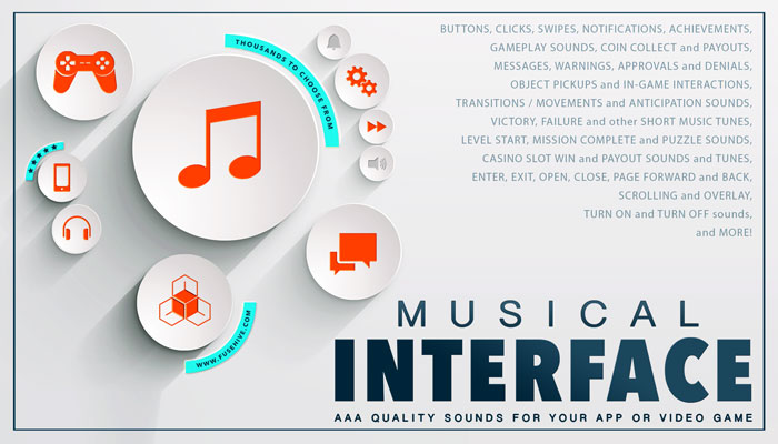 MUSICAL USER INTERFACE SOUND EFFECTS LIBRARY – Melodic Button Clicks, Swipes, Notifications, Achievements, Warnings, Gameplay, Coin Collect and Message Sounds