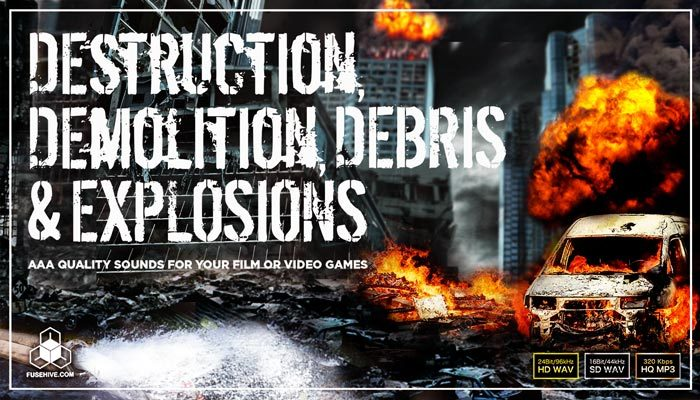 URBAN DESTRUCTION, DEMOLITION, DEBRIS and EXPLOSIONS SOUND EFFECTS LIBRARY – Industrial Construction and War – Concrete, Wood, Glass, Metal, Water, Snow, Ice and Electricity Carnage Sounds