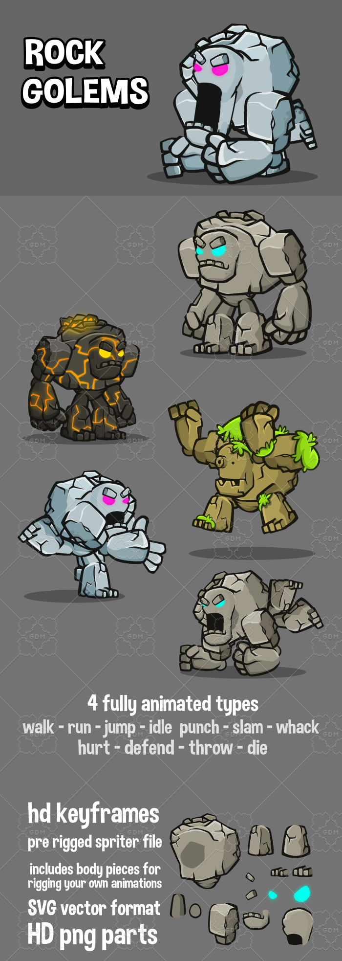 Rock golem game sprites
