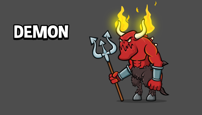 Animated demon 2d game asset
