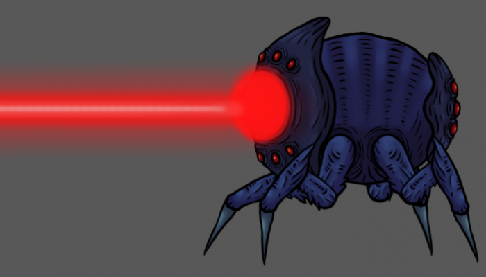 2d animated monster character, laser flea