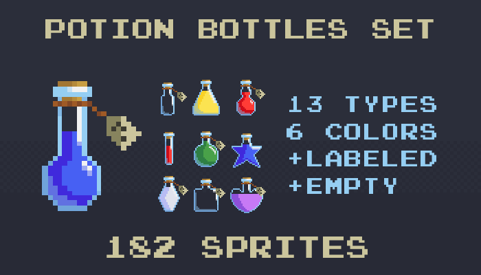 Pixel art potions bottles set
