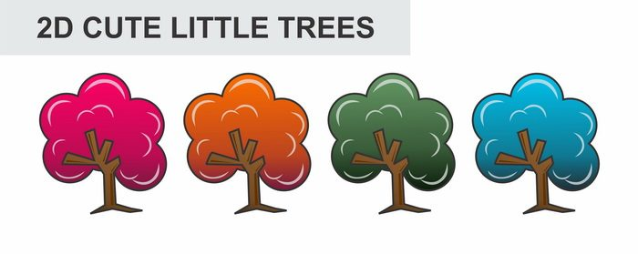 2D cute little trees