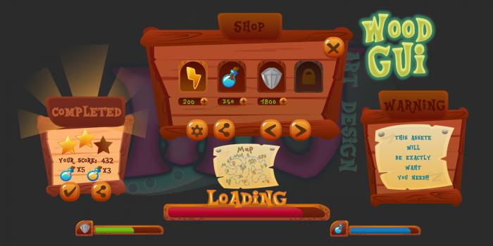 2D Game GUI Wood