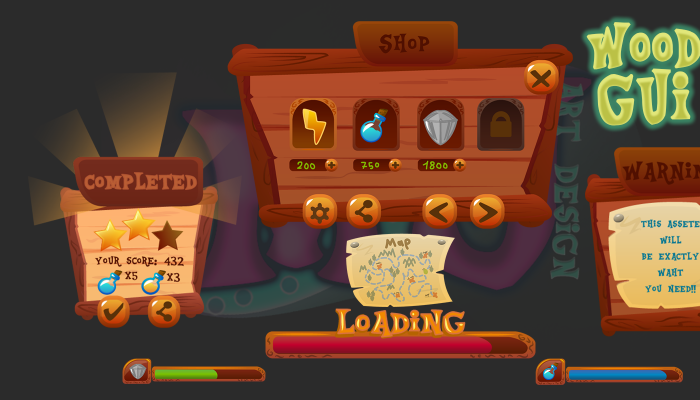 2D Game GUI Wood