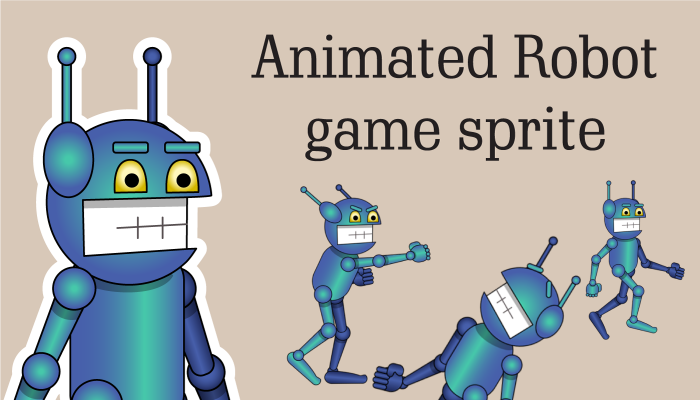 Animated robot game sprite