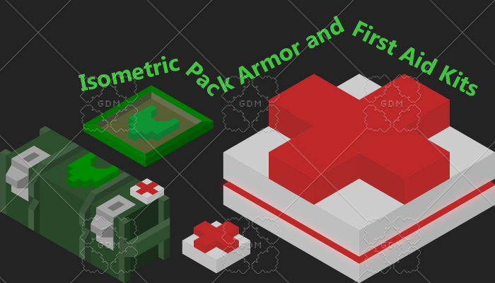 Isometric Pack Armor and First Aid Kits