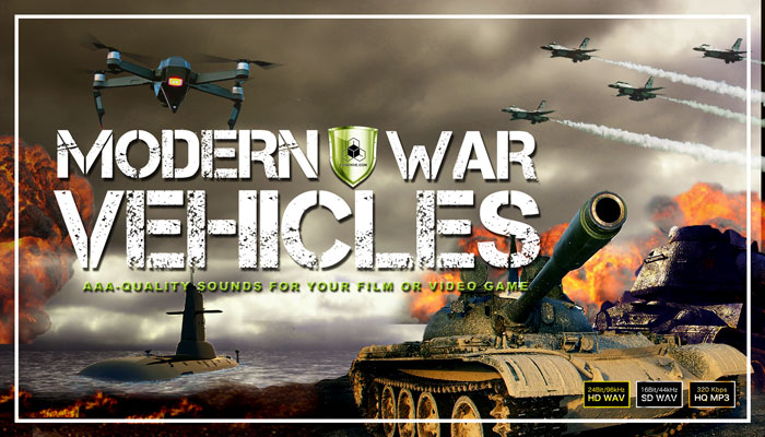 MILITARY VEHICLES, ARTILLERY, MARINE or AIR FORCE WARFARE SOUND EFFECTS LIBRARY – Battlefield Tanks, Guns, Trucks, Helicopter, Jeeps, Jet Airplanes, Submarine, Drone, Missile and Torpedo Weapon SFX Pack