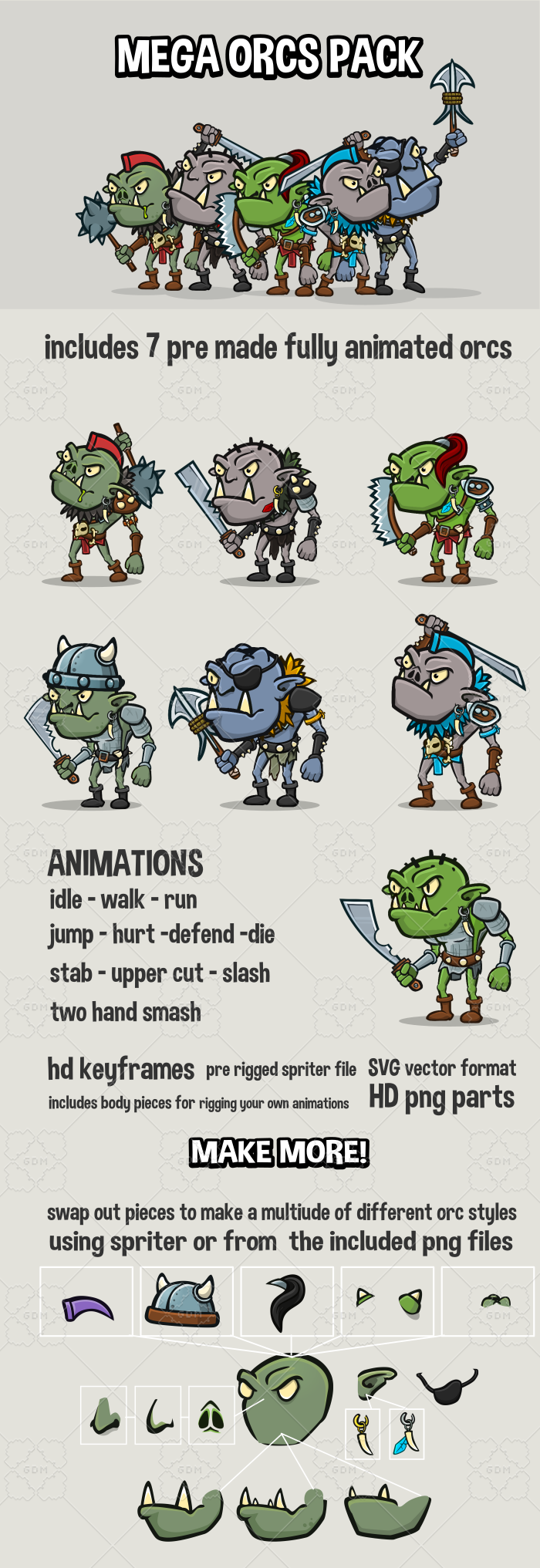 Mega animated 2d orc pack game assets