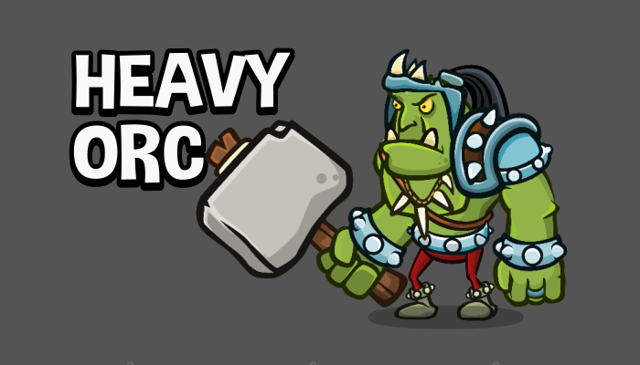 Heavy orc 2d game asset