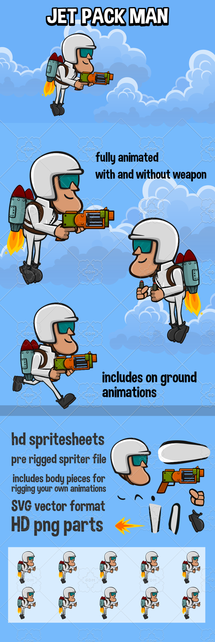 Jet pack man game character 2d game sprite