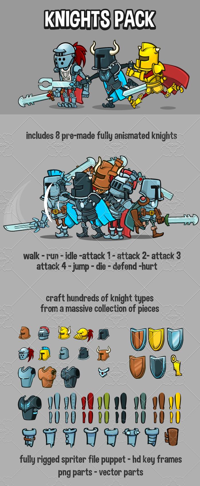 2d knight game sprites