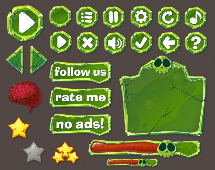 cartoon zombie GUI pack