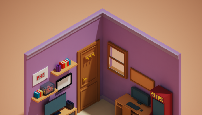 Isometric voxel room with furniture game asset