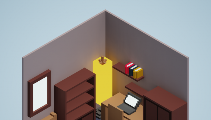 Free isometric voxel room with furnitures