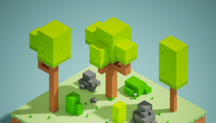 Free isometric voxelart enviroment : Vegetation, trees and rocks.