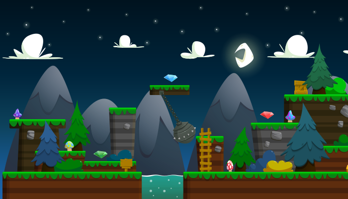 Night Forest Platformer Tile set