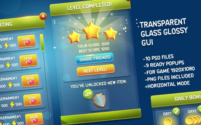 Transparent Glass Glossy GUI pack