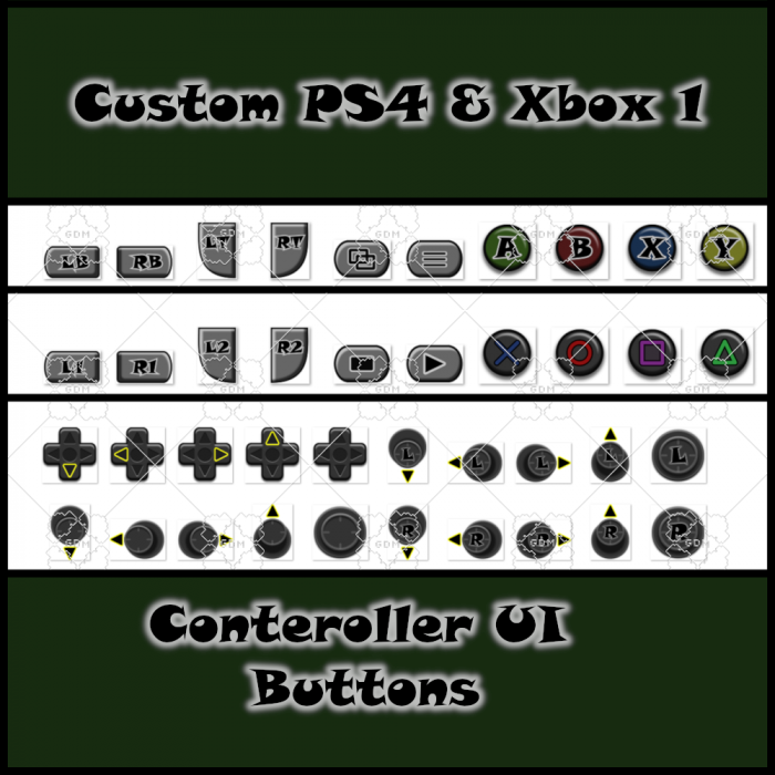 PS4 & Xbox1 controller UI Buttons