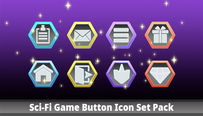 Sci-Fi Game Button Icon Set Pack