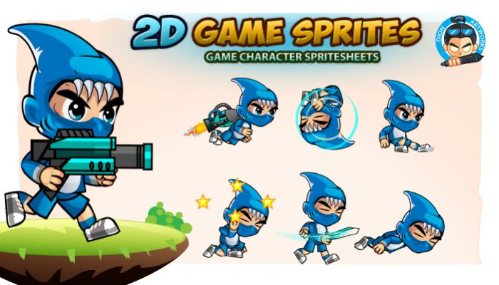 Shark Boy 2D Game Sprites