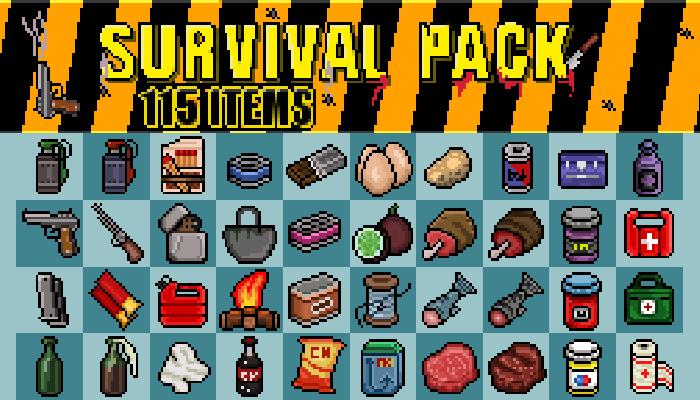 2D Survival Pack 115 Pixel Items