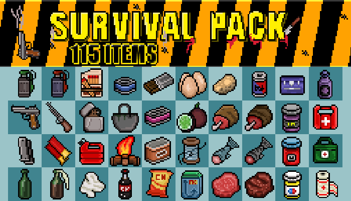 2D Survival Pack 115 Pixel Items