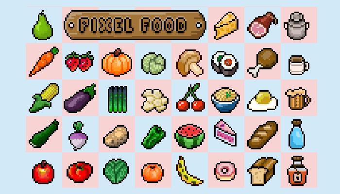 2D Pixel Food Pack Retro