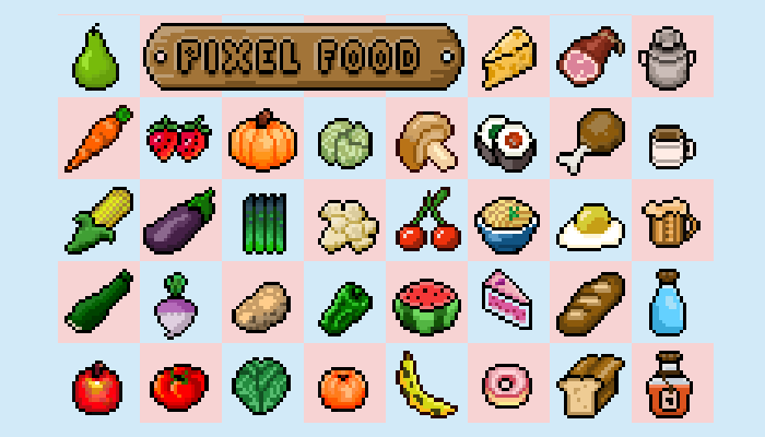 2D Pixel Food Pack Retro
