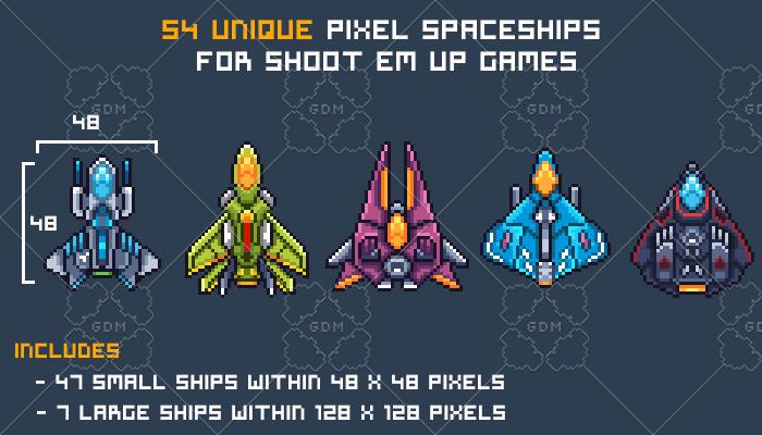Pixel Art Spaceships for SHMUP