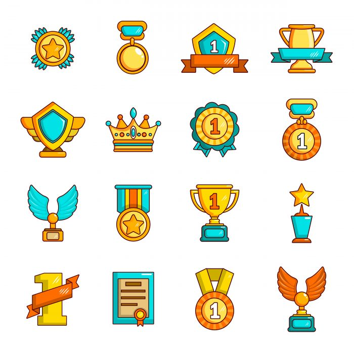 Awards medals cups icons set, simple style