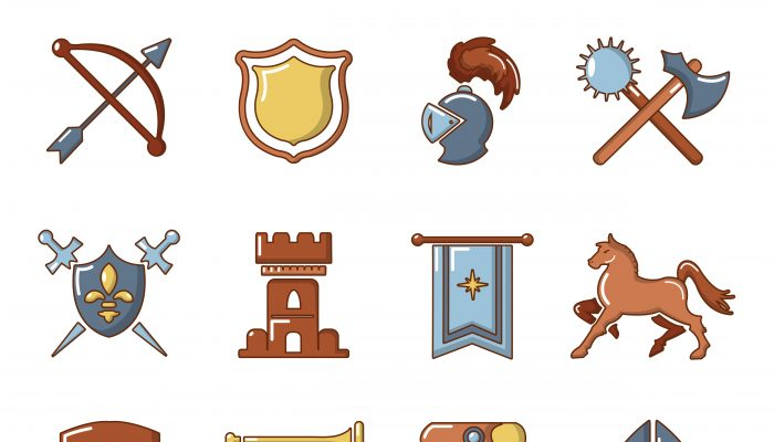 Knight medieval icons set, cartoon style