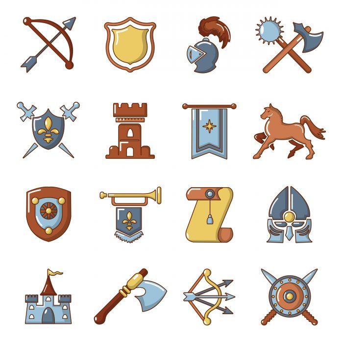 Knight medieval icons set, cartoon style