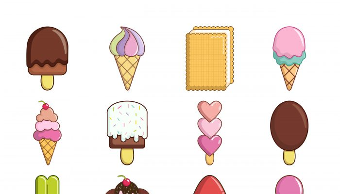 Ice cream icons set sweet, cartoon style