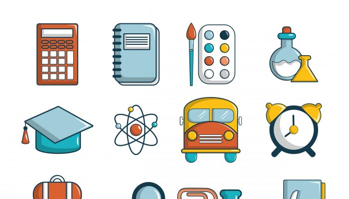 School education icons set, cartoon style