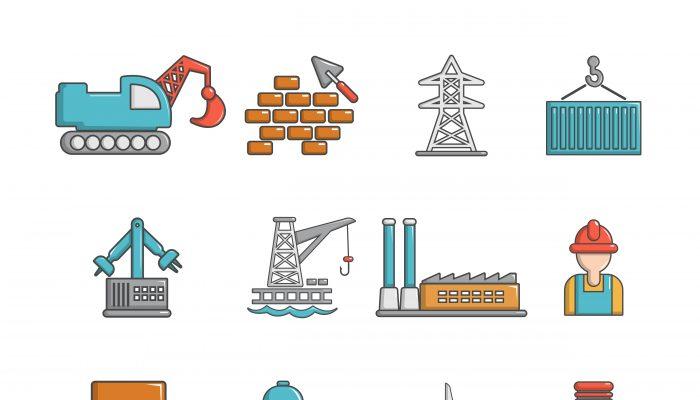 Industry icons set, cartoon style