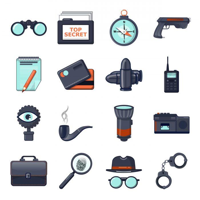 Spy icons set, cartoon style