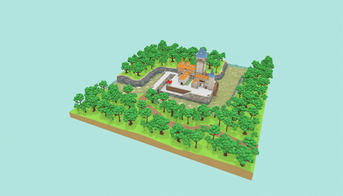 Medieval Castle Low-poly 3D model