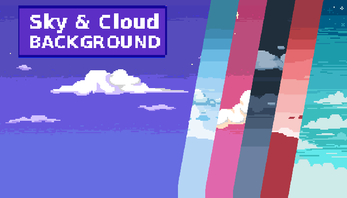2D Pixel Art Background ( 10 Sky & Cloud ) #2