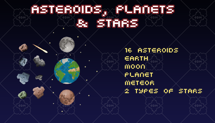 Pixel Art Space Set | Asteroids Planets Stars