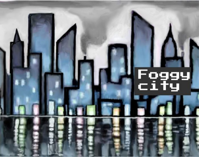 Repeatable Smoggy city background for scrolling