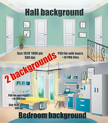 bedroom and hall backgrounds