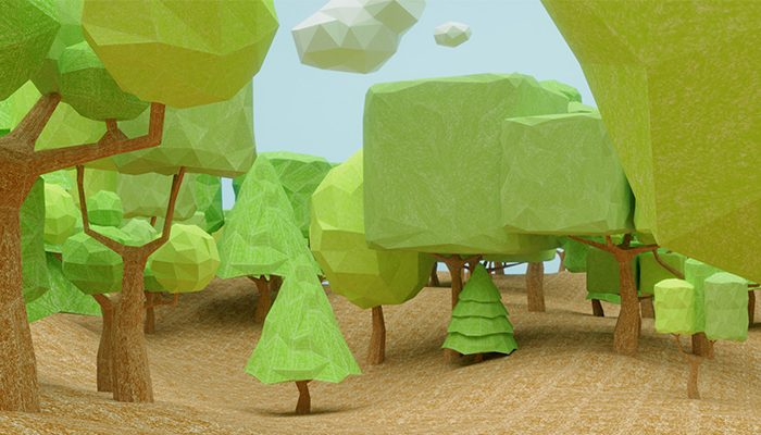 Colored Pencil Low Poly 3D Trees