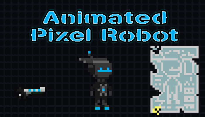 Animated Pixel Robot w/ dust effect and gun